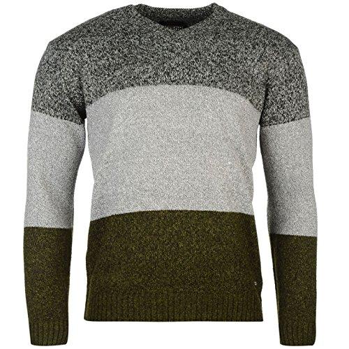 pierre-cardin-hombre-cardin-block-de-punto-jumper-jersey-ropa-vestir-blusa-grey-khaki-char-large