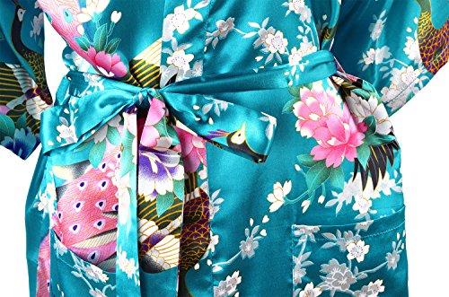 Cityoung Damen schlafanzug aus Seiden 3/4 arm Blau