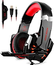 Kotion Each G9000 Over Ear Gaming Headphones with Mic and LED-compatible with PC, iPad, iPhone, Tablets, Mobile Phones (Blac
