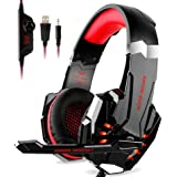 G9000 Stereo Gaming Headset for PS4, PC, Xbox One Controller, Noise Cancelling Over Ear Headphones with Mic, LED Light, Bass