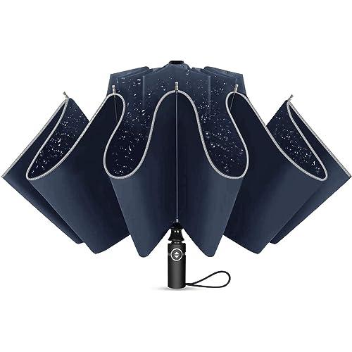 Ombrello Pieghevole Automatico, Antivento Ombrello Portatile Resistenza Compatto Pioggia Ombrello da Viaggio per Uomo e Donna, 10 Costole e Strisce Riflettenti Notturne per la Sicurezza, Blu