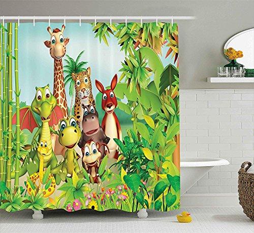orhang von niedlichen Tieren Giraffe Tiger Sch Dinosaurier Nilpferd AFFE im Dschungel Kinder Baby Thema Stoff Badezimmer Dekor Set mit lang grün ()