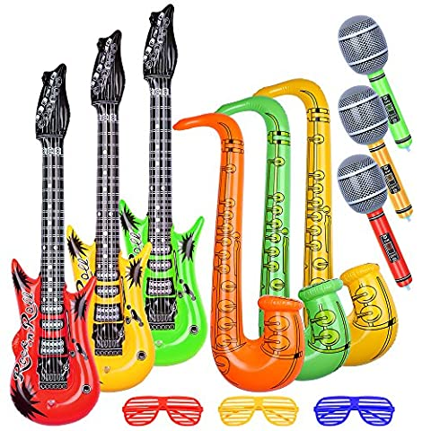 Biging 12 Pieces 4 Styles Inflatable Rock Star Toy Set Microphone Guitar Saxophone Shutter Shading Glasses for Musical Rock and Roll Parties
