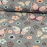 Baumwolljersey Schmetterlinge & Blümchen grau -Preis gilt