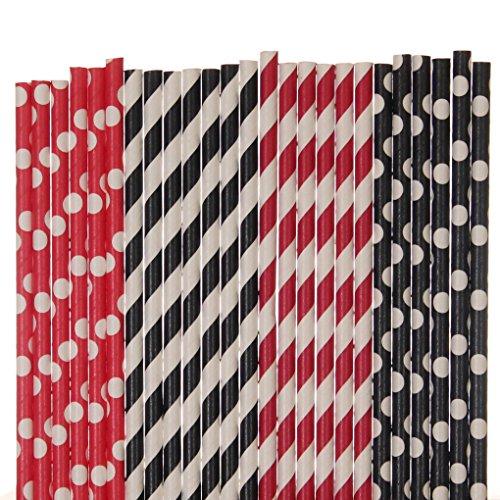 Rot und Schwarz Papier Stroh Mix-rot, schwarz, gestreift, Polka Dot ()