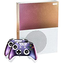 eXtremeRate® Púrpura y Oro Chameleon Placas Frontales Personalizadas Skin Decal Sticker Covers para Microsoft Xbox One S Console Controller