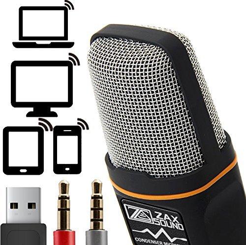 Professionale cardioide Microfono a condensatore con treppiede per PC, laptop, iPhone, iPad, telefoni Android, tablet, xBox e YouTube registrazione da ZaxSound