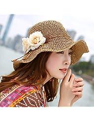 LKMNJ La Sra. Sun Sombreros Sombreros Sombrero de Paja plegable Software borde ancho playa ,caqui