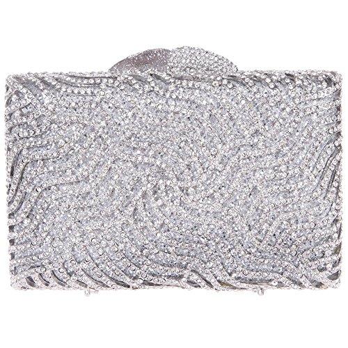 Damen Clutch Abendtasche Handtasche Geldbörse Glitzertasche Strass Kristall Blitz Tasche mit wechselbare Trageketten von Santimon(4 Kolorit) Silber