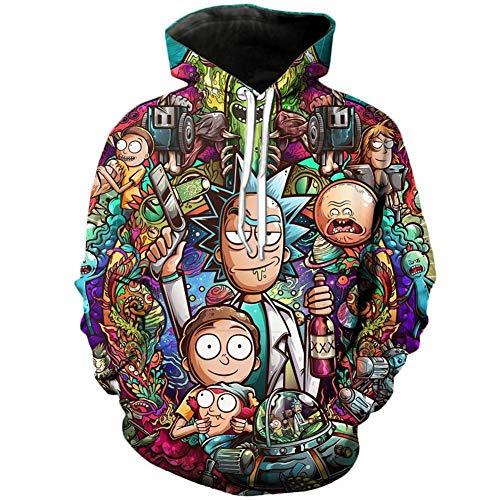 LBZD Unisex Fashion 3D Hoodies Printed Rick und EIN Morty Hoodie Pullover Graphic Sweatshirts mit Big Pockets Hooded,XL