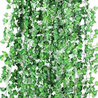 Artificial Ivy Leaves Garlands, Bigzzia 24 Pack Fake Greenery Foliage Hanging For Wedding Party Decoration Garden Wall Greenery Home Kitchen Decoration