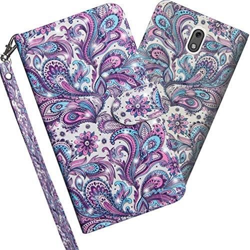COTDINFOR Nokia 3.1 2018 Hülle 3D-Effekt Painted cool Schutzhülle PU Leder Flip Bookcase Handy Tasche Schale mit Magnet Standfunktion Etui für Nokia 3 2018 / Nokia 3.1 Whirlpool Pattern YX.