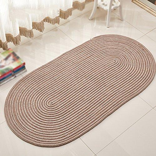 LIXUDITAN Faserseil Weben Oval Teppich, Wohnzimmer Couchtisch Schlafzimmer Bettdecke Umweltschutz Maschinenwaschbar JDFAnti-Rutsch-Pad (Farbe : Dark Camel, größe : 100 * 160cm)