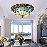 Bleu méditerranéen en verre Chambre plafond lumière mosaïques étude chambre plafond lumières Cuisine Salle de bain Plafond Lampe