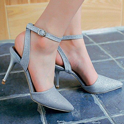 XINJING-S Donne sexy tacco alto scarpe parte appuntita scarpe matrimonio Slim scarpa sintetica Blue