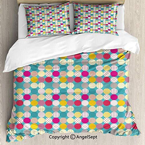 Quilt Set 3 Stück mit 2 Pillow Shams, Patchwork-Muster mit Tupfen und Streifen auf blau getönten Hintergrund Bunte Multicolor, Cover mit Reißverschluss -