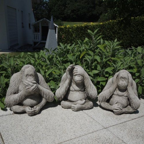 Kretakotta 3-tlg. Die Drei Affen Orang-Utan-Set Antiksteinguss