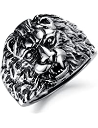 bigsoho Stainless Steel King's Huge Lion Ring Powerful Personality Men's Rings Size N 1/2 - W