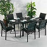Ruby Tisch und 6 Georgia Stühle - SCHWARZ | Ausziehbarer 180cm Esstisch mit passenden Stühlen