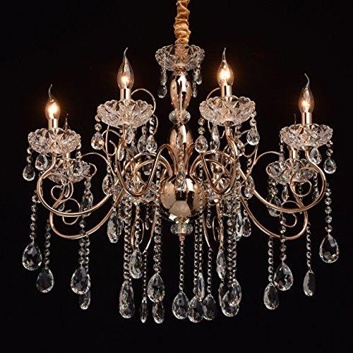 Kronleuchter Kerzen Gold Klassisch 8 flammig Kristall Wohnzimmer (Kronleuchter Gold 8 Licht)