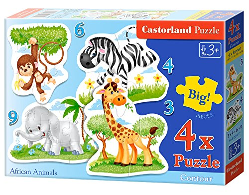 CASTORLAND African Animals 3/4/6/9 pcs 3pieza(s) - Rompecabezas (Contour Puzzle, Dibujos, Preescolar, 3 año(s), Niño/niña, Interior)