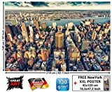 Foto mural New-York Skyline horizont - decoración ocaso Manhattan america USA deco Big Apple NYC I foto-mural foto póster deco pared by GREAT ART 210x
