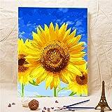 Godess4 Ölgemälde DIY Digital Painting Suite Sonnenblume Unter Blauem Himmel 16 * 20 Zoll (40 * 50 cm) Füllen Sie Ihre handgemalte Digitale Öldekoration.