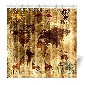 violetpos Top calidad antimoho para cortina de ducha (Impresión Digital Para Cuarto de baño baño cortinas Retro Mapa del Mundo Aborígenes Danza Totem Elefante Jirafa