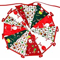 G2PLUS 10M Merry Christmas Banner, Fabric Flag Bunting, Double Sided Vintage Cloth Shabby Chic Decoration for Christmas