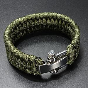 61Iv Flrk4L. SS300  - A-Szcxtop Emergency Hand Self-defence Emergency Tool Survival Rope Bracelet, Paracord Bracelet with Adjustable Stainless Steel Hea (Army Green)