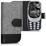 kwmobile Funda para Nokia 3310 (2017) - Wallet Case plegable de cuero sintético - Cover con tapa tarjetero y soporte en gris negro