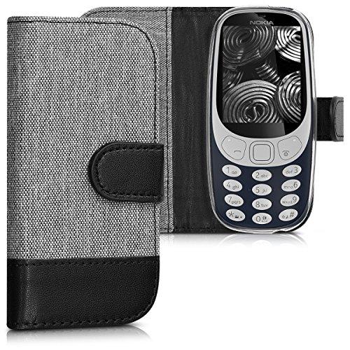 kwmobile Hülle für Nokia 3310 (2017) - Wallet Case Handy Schutzhülle Kunstleder - Handycover Klapphülle mit Kartenfach und Ständer Grau Schwarz