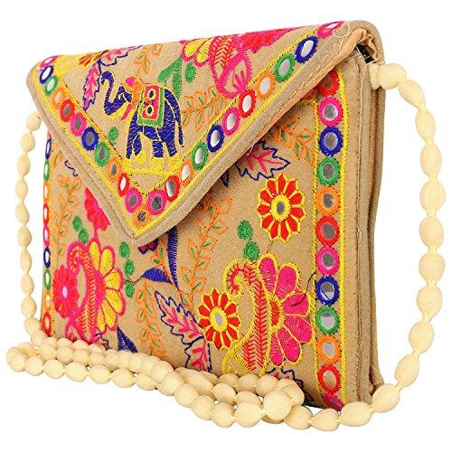 Craft Trade Handmade Designer Embroidered Rajasthani Clutch Bag For Women\'s Cream