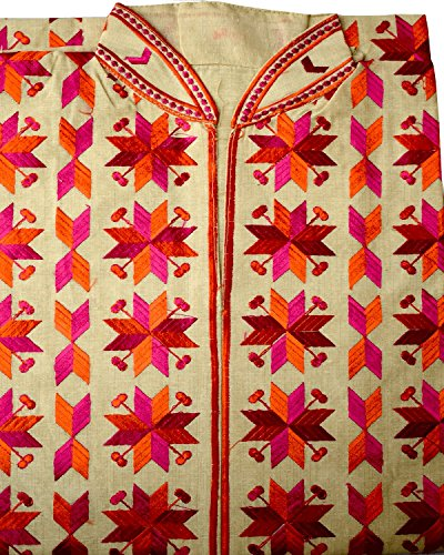 Diwali Sale - Phulkari Women's Silk semi-stitched Kurti color Cream