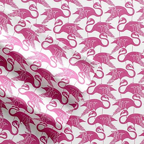 Poppy & Fritz Flamingo Geometrische Baumwolle Blatt Set, Twin/X-Large, Pink