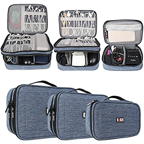 BUBM 3-piece Padded Gear Case, Ultra-compact Electronics Organiser for Camera Gear, Data Cables, Chargers, Plugs, Memory Cards, CF Cards and More--Double Layer Compartment with Zipper Closure, Denim Blue