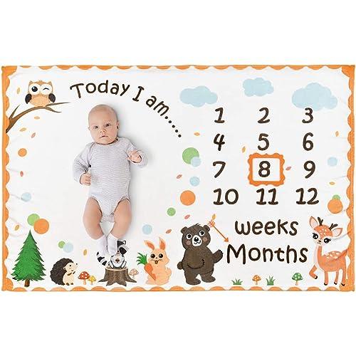 WERNNSAI Bosco Coperta Milestone - 150 x 100 cm Flanella Coperta del Bambino Sfondo di Fotografia Settimanale Mensile delle Ragazze Regalo di Compleanno Baby Shower