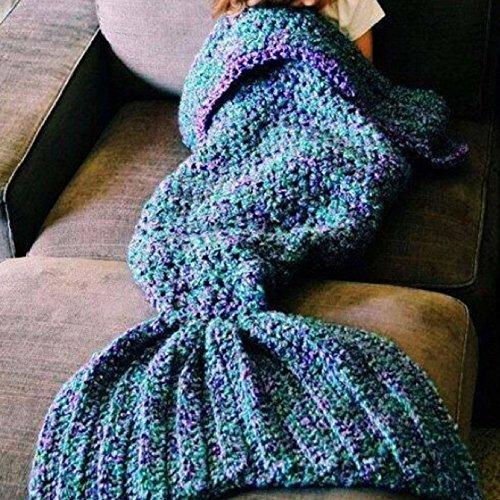 Meerjungfrauen-Decke, Wolle, handgefertigt, Strick, für Sofa, Bett, Schlafsack, Decke für Erwachsene und Kinder, Wolle, blau, 80*180cm(Adult)