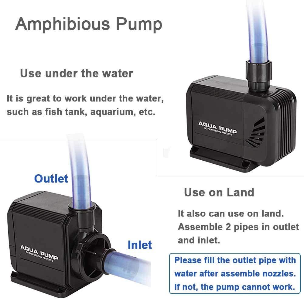 YOSTAR Submersible Pump, Ultra-Quiet Aquarium Pump, 660 GPH (35W)  Amphibious Water Pump for Aquarium, Pond Pump, Fish Tank Pump, Hydroponics,  with