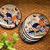 ExclusiveLane 'The Hut Family' Hand-Painted Ceramic Dinner Plates (10 Inch, Set Of 6) - Ceramic Plates Set For Dinner Rice Plate For Serving Side Plates Dessert Quarter Plate Full Plates Dinner Set Dinner Plates Set Of 6 Snacks Serving Breakfast Plates Ta