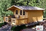 Gartenhaus MARI B - B40 Blockhaus 380x380cm - 40mm - Inkl. Fußboden+Verglasung Gartenlaube Holzhaus Holzlaube