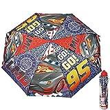 Perletti 50515 - Taschenschirm / Regenschirm / Kinderschirm Cars Disney Pixar für Jungen - Manuell Blau und Rot