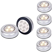 Ilyever 6 Pack Warm LED Battery-Powered Wireless Night Light Stick Tap Touch Lamp Stick-on Push Light for Closets, Cabinets, Counters, or Utility Rooms,Cordless Touch Light