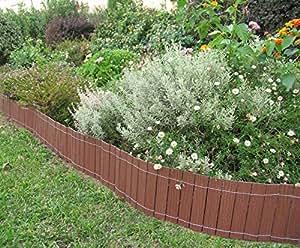 Petite cl ture bordure bois composite 20 cm x 2 50 m couleur bois naturel marque b cottage - Petite cloture jardin ...
