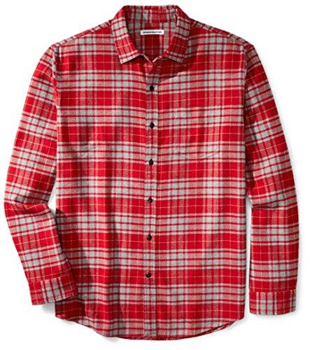 Amazon Essentials - Camisa de franela a cuadros de manga larga y ajuste regular para hombre, Rojo (Red/Grey Plaid), US S (EU S)