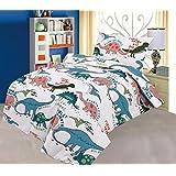 Juego de funda de edredón y funda de almohada, diseño de dinosaurios, algodón natural, 120 x 150 cm, color blanco
