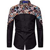 Yczx Mens Printed Shirts Long Sleeve Vintage Casual Button Down Dress Shirt Formal Business Shirts Working Office Wedding Fas