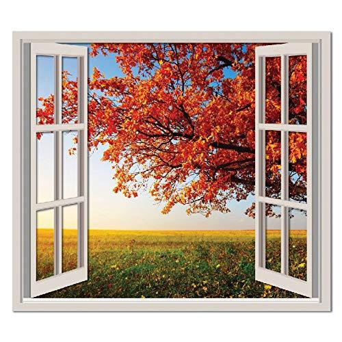 azutura Árbol de otoño 3D Ventana Vinilos Paisaje Pegatina Decorativos Pared Dormitorio Decoración Disponible en 8 Tamaños XXX-Grande Digital
