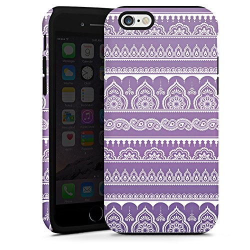 Apple iPhone SE Housse Outdoor Étui militaire Coque Mandala Henna Indien Lilas Cas Tough terne