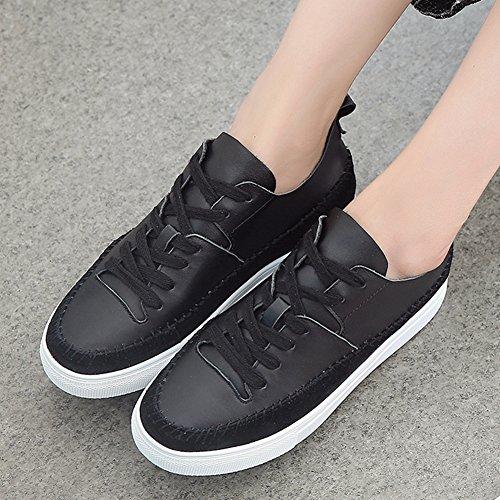 Damen Rund Zehen Low-Top Sneakers Dick Flache Anti-Rutsch Gummi Sohle Freizeitschuhe Skateboard-Schuhe Schwarz